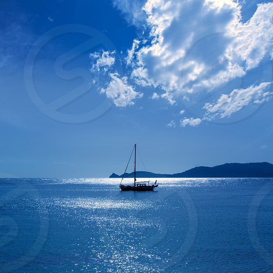 Javea Xabia morning light sailboat in Mediterranean Alicante at Spain photo
