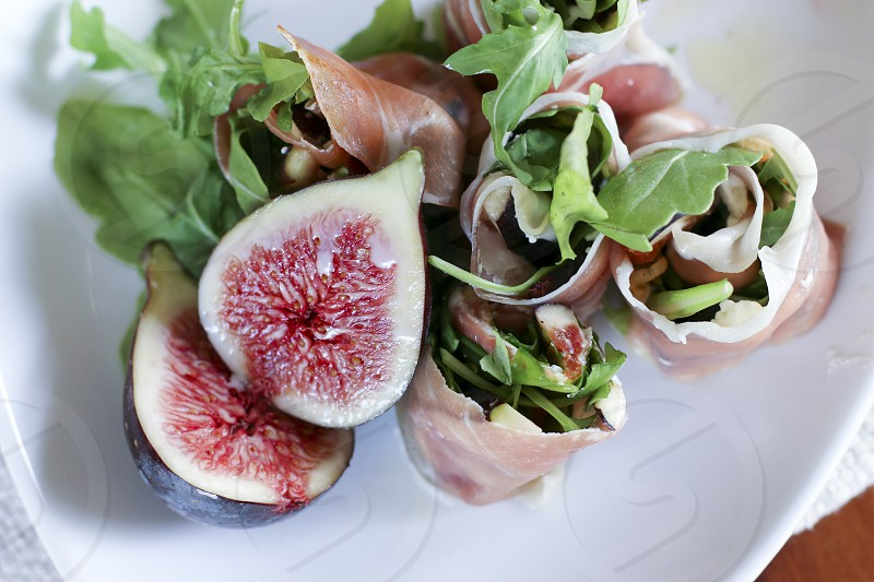 figs goat cheese prosciutto appetizer appetizers snacks snack fresh fruit photo