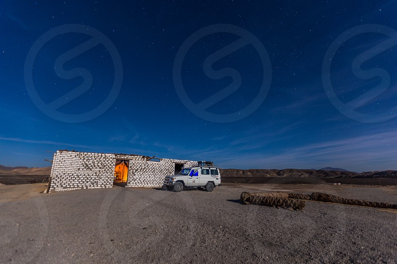 Camping In desert between mountains  photo