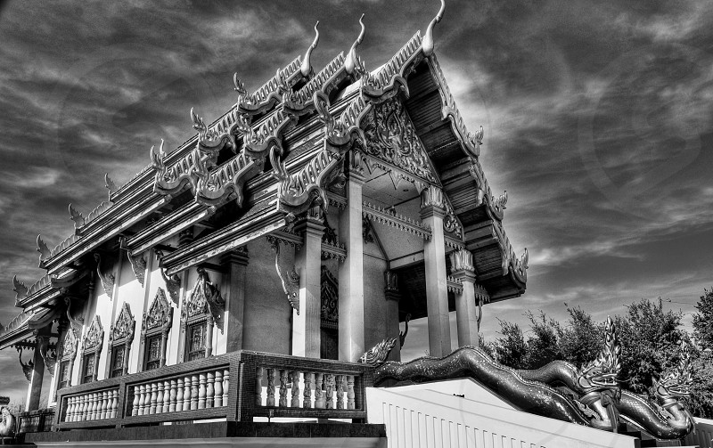 grayscale photo of temple photo