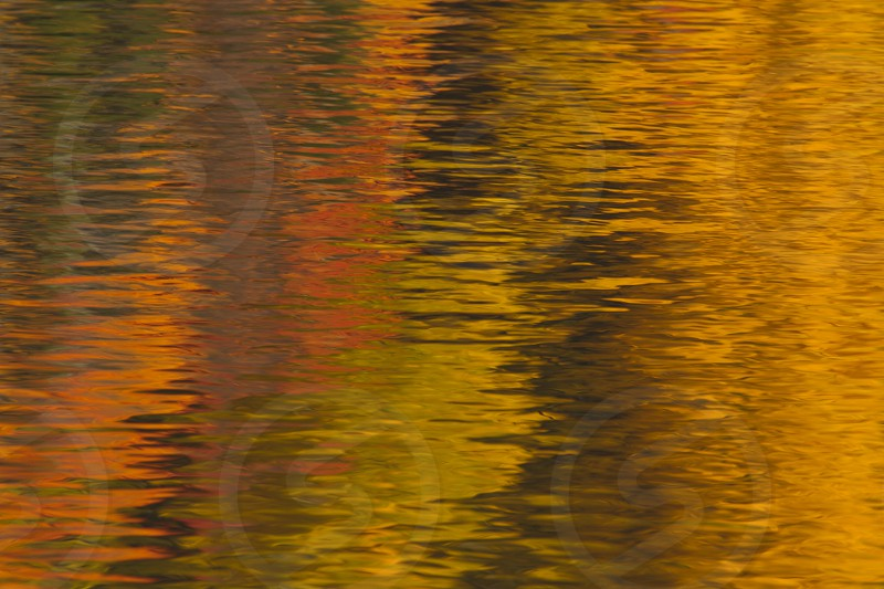 Fall colors reflected in a lake's surface photo