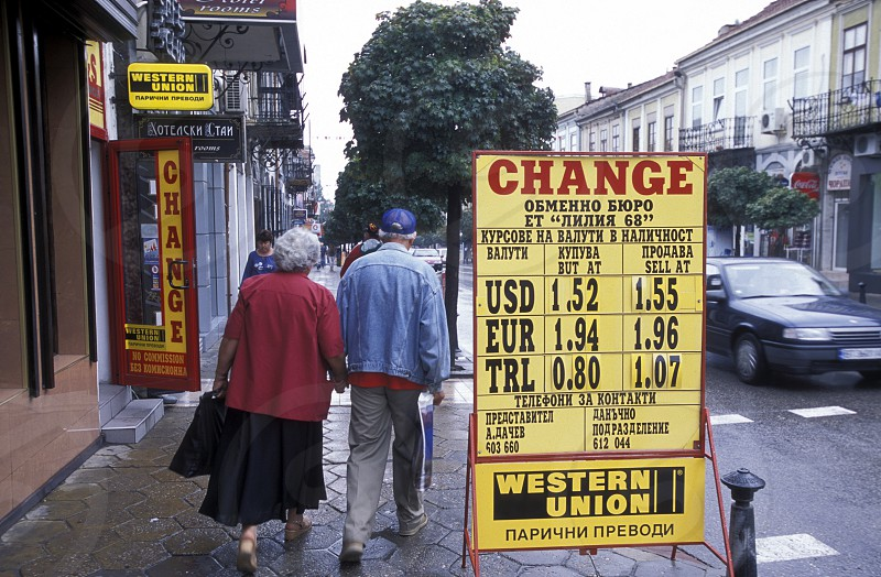 a money change shop in the city of Veliko Tarnovo in the north of Bulgaria in east Europe. photo