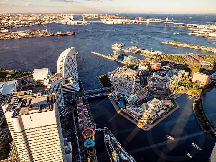 YOKOHAMA JAPAN 16 Jun 2019 A view of Yokohama city taken from the observation tower of Landmark Tower photo