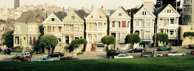 Familiar row houses in California.  photo