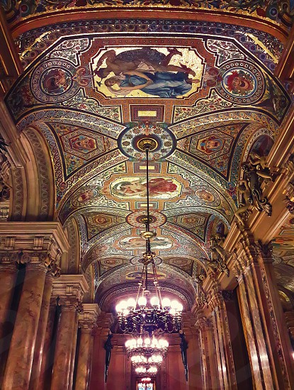 Interior ceiling view of the Opera National de Paris Garnier France. It was built from 1861 to 1875 photo
