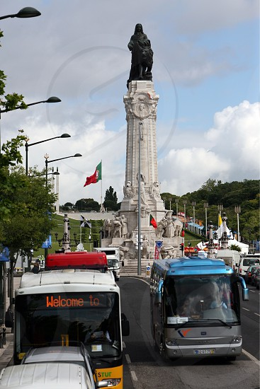 the monumento dos restauradores in baixa in the city of Lisbon in Portugal in Europe. photo