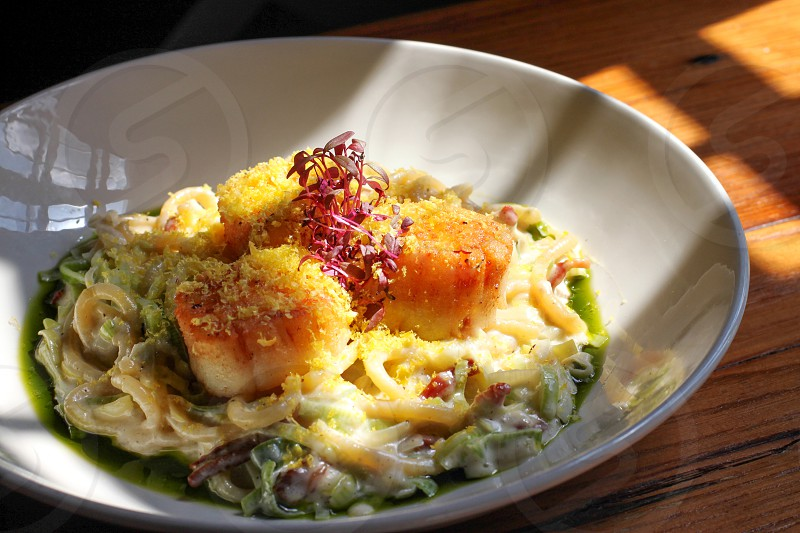 pasta topped with scallop and red leaf herb photo
