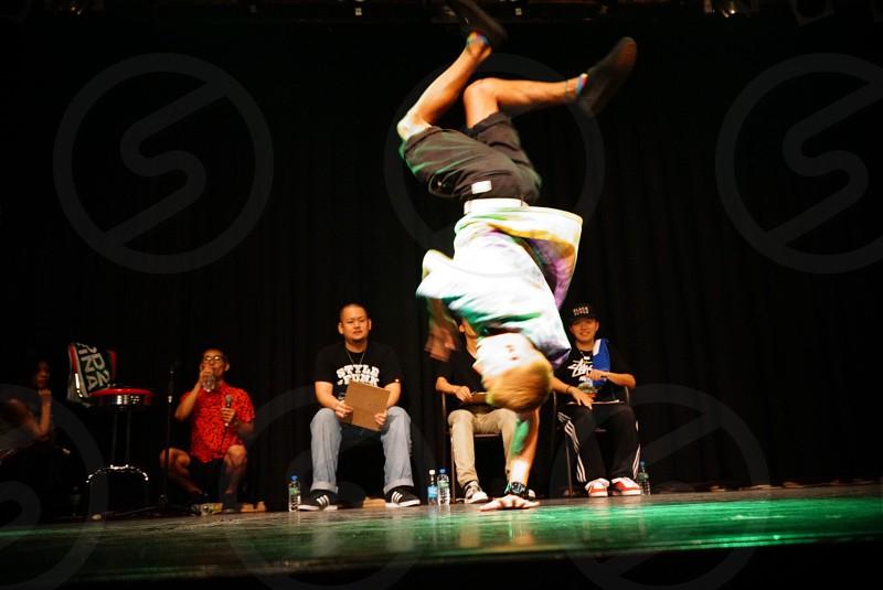 man flip dancing photo