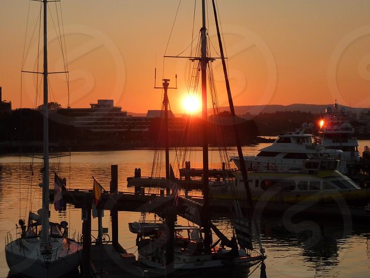 Victoria harbor sunset photo
