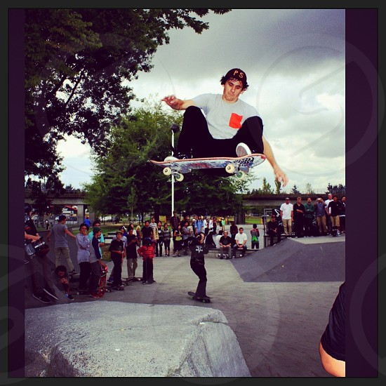 Rick McCrank ripping up tha rock at Girl/Chocolate Skateboards demo in Canada.. Summer 2013 photo