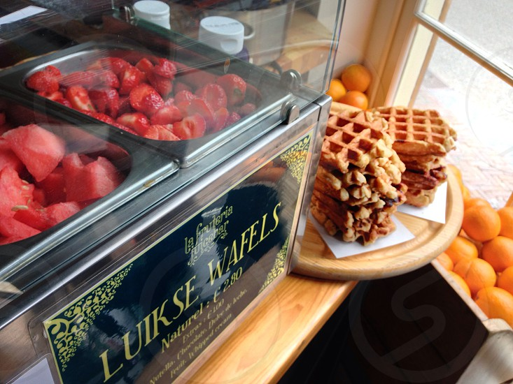 Authentic Belgian waffles with strawberries photo
