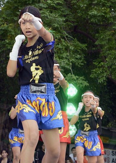 a traditional Muay Thai Box Show at the Santichaiprakan Park at the Mae Nam Chao Phraya River in Banglamphu at the city of Bangkok in Thailand in Suedostasien. photo
