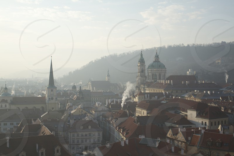 Prague winter morning fog photo