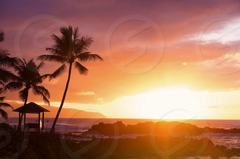 North Shore Haleiwa Oahu sunset paradise tourism cloudscape photo