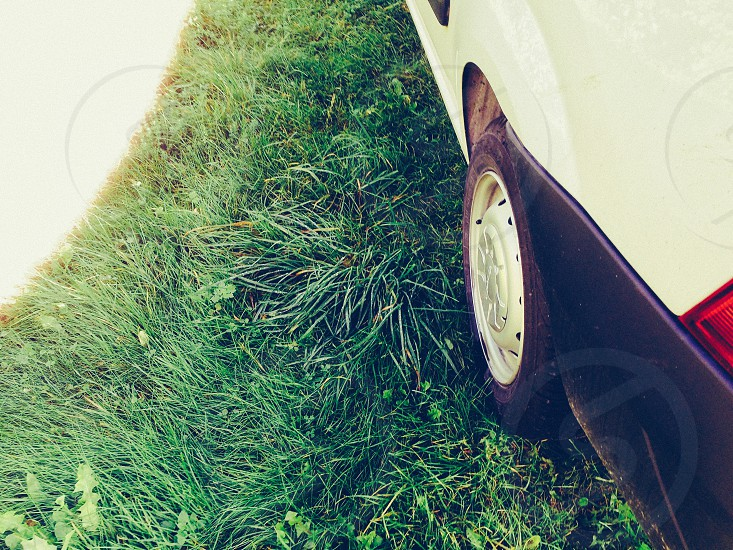 the side of a car white car wheel grass backbround light photo