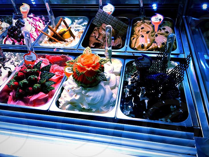 Ice cream tabs colourful decoration summer delicious.  photo