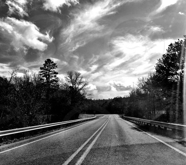 black and white road photo photo
