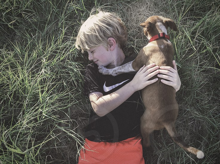 boy dog grass hug kid child youth puppy love photo