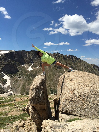 High altitude yoga near Summit Lake in Colorado.  photo
