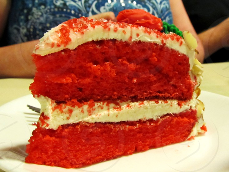 Bright red velvet cake cream cheese frosting equality cake photo