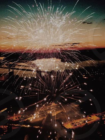yellow fireworks photo