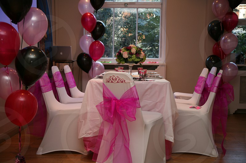 Birthday party decorations balloons ribbon pink party photo