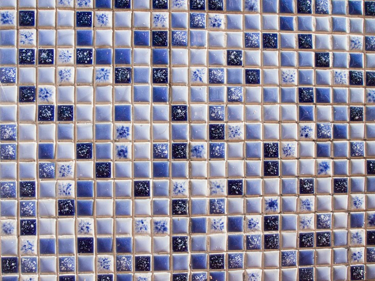 Blue and white small mosaic ceramic glazed tiles. decor tile texture pattern  photo