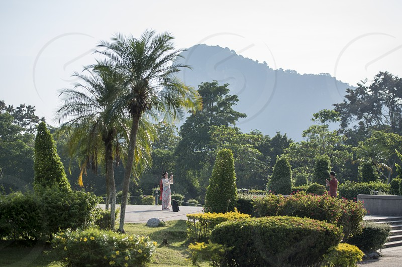 the Garden at the Buddha Cliff of Khao Chee Chan at the village of Sattahip near the city of Pattaya in the Provinz Chonburi in Thailand.  Thailand Pattaya November 2018 photo