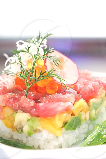 Spring Colors Sushi Red Tuna Mango Avocado Salmon Roe Yummy Food photo