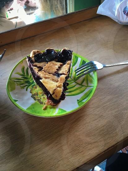 Organic blueberry pie photo