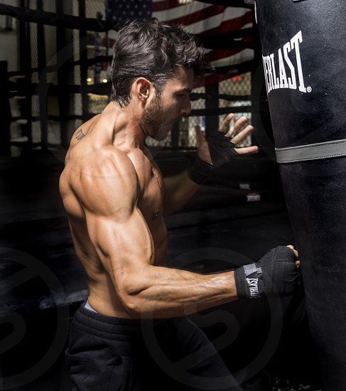 Male workout gym defintion action photo