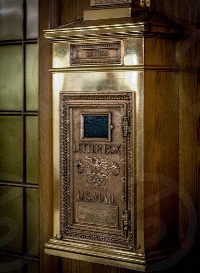 mail mailbox snail letter box gold gilded old vintage photo