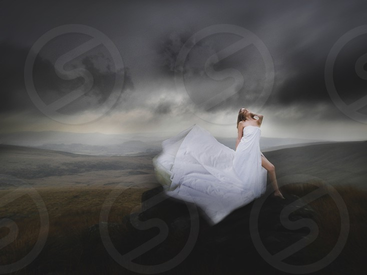 woman in white wedding gown photo
