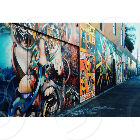 orange blue and grey street wall art photo