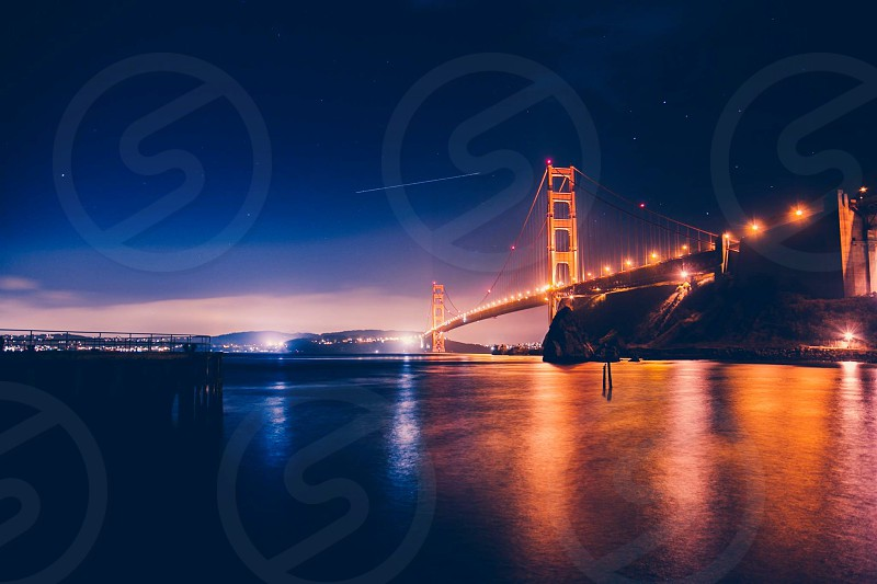 The Golden Gate at night.  photo