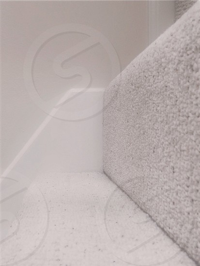 gray cushioned staircase photo