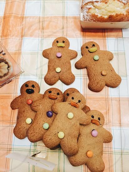 7 brown gingerbread man cookies photo