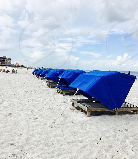 Beach beach chairs lounge chairs east coast Florida  travel summertime  photo