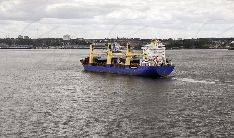 Big ship in the Kiel canal in north of Germany   photo