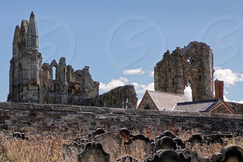 WHITBY NORTH YORKSHIRE/UK - AUGUST 22 : View of Whitby Abbey Ruins in Whitby North Yorkshire on August 22 2010 photo