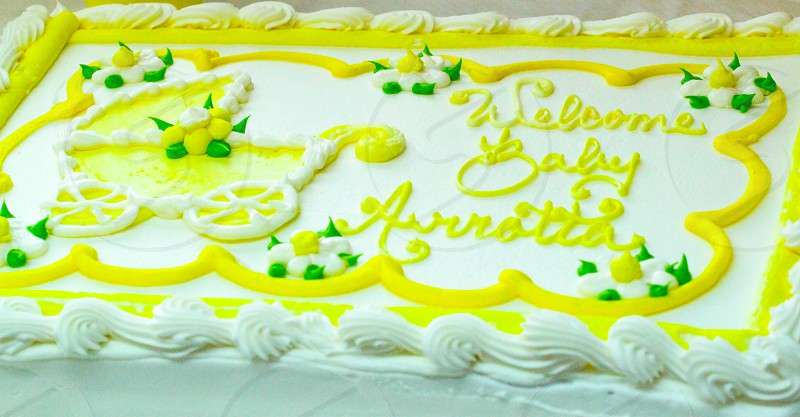 Baby Shower Party Yellow White Green Cake photo