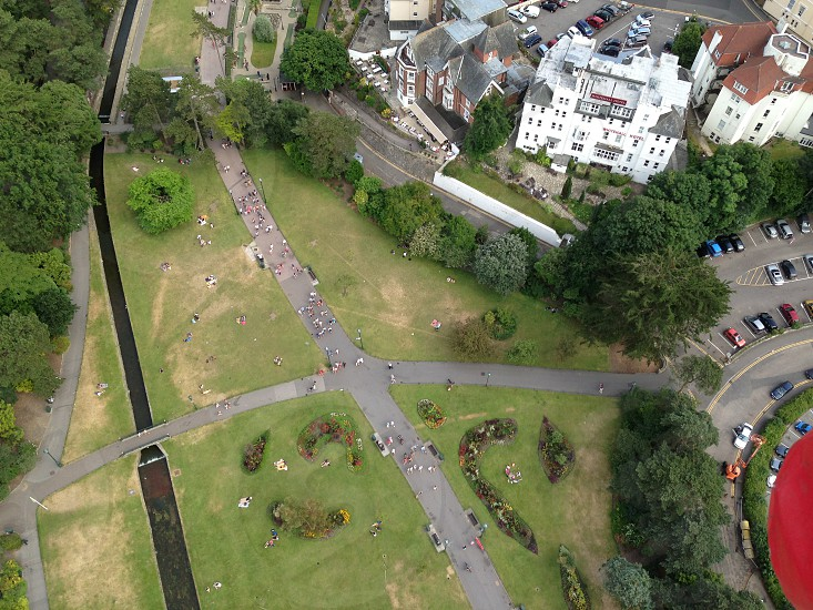 Aerial view of a park in Bournemouth town with river  photo