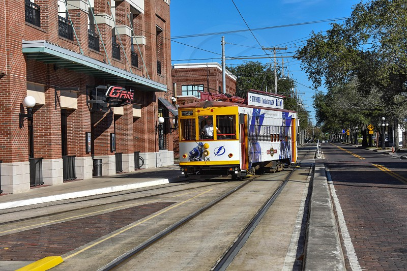 Ybor City Tampa Bay Florida. January 19  2019  . Streetcar arriving to Ybor Centro Station in 8th ave. photo