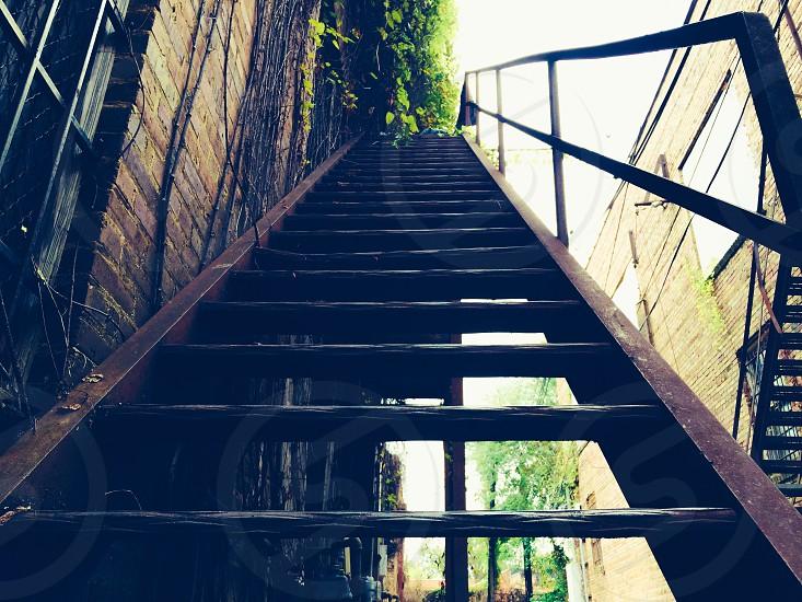 brown metal staircase photo