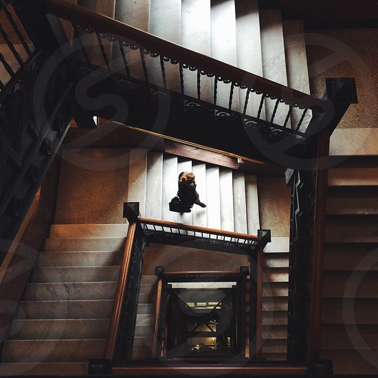 person walking down stairs during daytime photo