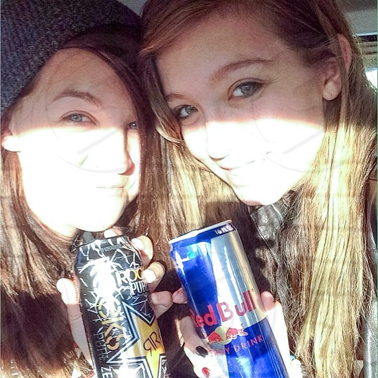 Twin sisters. Rock Star or Red Bull? photo