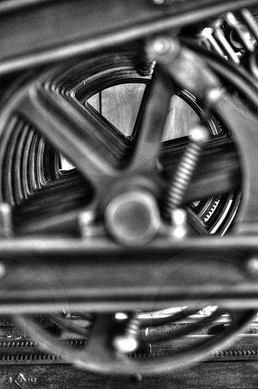 Artistic approach to an old printing press. photo