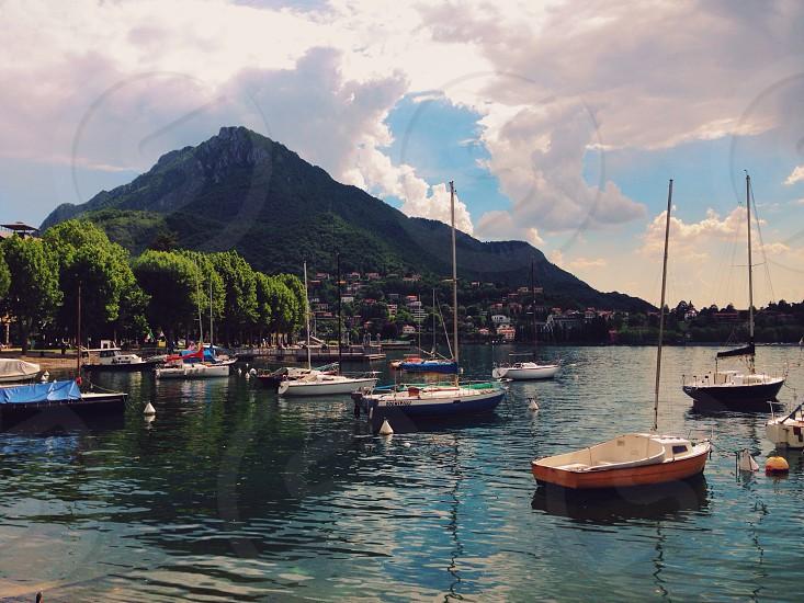 Lake Como . Lecco . Lake . Sailing boats . Boat . Mountain . Beautiful  photo