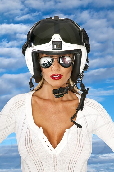 military helmet helicopter sunglasses white red lips adult attractive background beautiful beauty gray blue caucasian close cute day face fashion female girl glamour human image life lifestyle model studio person photo portrait pretty sexy woman women young photo
