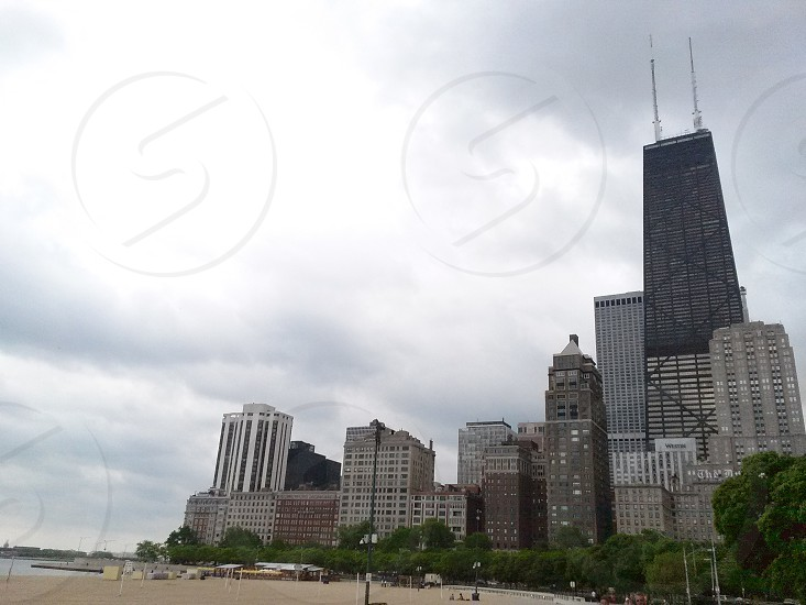 Chicago skyline from a Northside beach photo